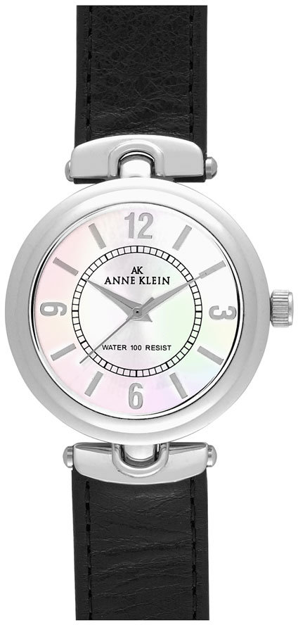 AK Anne Klein Leather Strap Round Watch