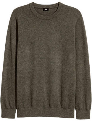 H&M Fine-knit Cotton Sweater - Green