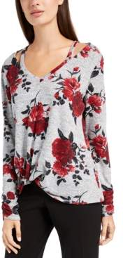 BCX Juniors' Floral Cutout Sweater