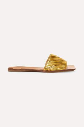 Bottega Veneta Metallic Leather Slides - Gold