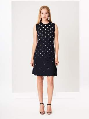 Oscar de la Renta Scalloped Polka Dot Knit Dress