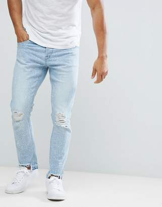 ONLY & SONS Skinny Jeans With Open Knee And Bleaching Details