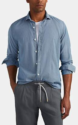 Eleventy Men's Textured Cotton Sport Shirt - Blue