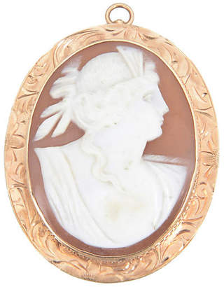 One Kings Lane Vintage Victorian Shell & Gold Cameo Brooch - Owl's Roost Antiques