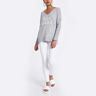 River Island Grey 'Sun dayz' slouch sweater
