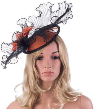 Lawliet Flower Core Womens Sinamay Clips Saucer Hat Fascinator A325