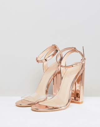 Public Desire Natasa Rose Gold Block Heeled Sandals