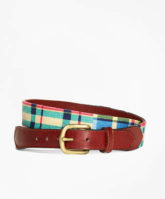 Brooks Brothers Needlepoint Patchwork Madras Belt