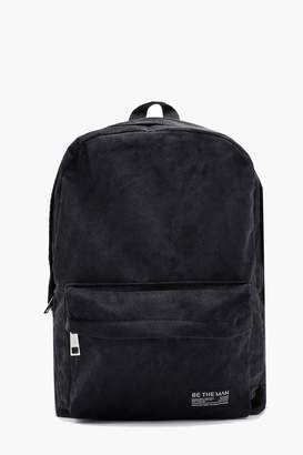 boohoo Cord Rucksack with Branded Patch