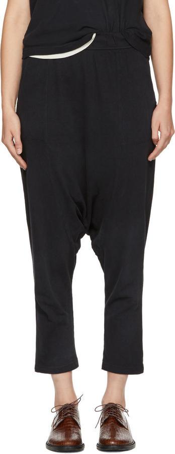 Raquel Allegra Black Cropped Slouchy Lounge Pants