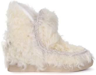 Mou Inner Wedge Sneaker Vanilla Sheepskin Ankle Boots