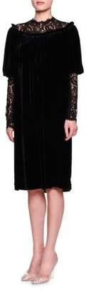 Dolce & Gabbana Lace-Inset Gathered-Neck Shift Dress, Black