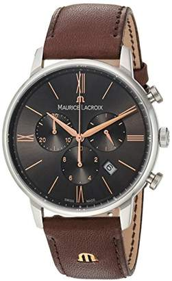 Maurice Lacroix Men's 'Eliros' Quartz Stainless Steel and Leather Casual Watch