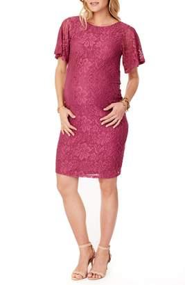 Ingrid & Isabel R) Flutter Sleeve Lace Maternity Dress