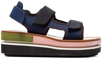Marni Blue Contrast Sole Flatform Sandals