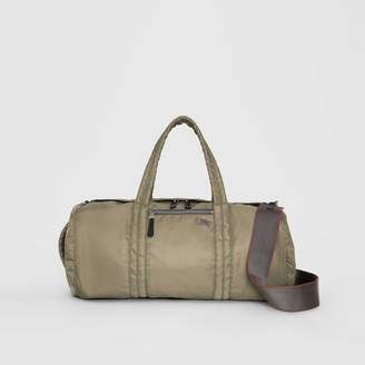 Burberry Large EKD Aviator Nylon and Leather Barrel Bag