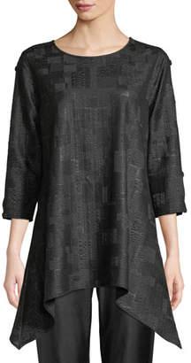 Caroline Rose Cubic Knit Side-Fall Tunic, Plus Size