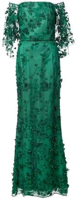 Marchesa floral off-the-shoulder dress