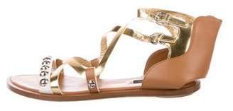 Louis Vuitton Leather Metallic Sandals