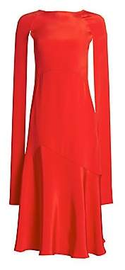 Calvin Klein Women's Silk Cape-Sleeve Midi Dress