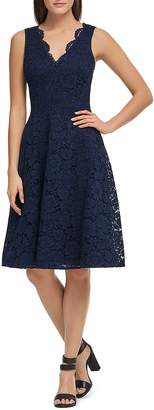 Donna Karan Lace Fit-and-Flare Dress