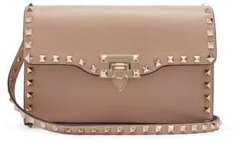 Valentino Rockstud Leather Cross Body Bag - Womens - Nude