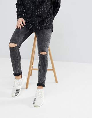 Mennace Super Skinny Jeans In Black With Knee Rips