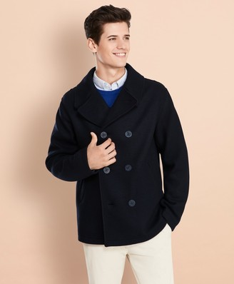 Brooks Brothers Wool-Blend Jersey-Knit Peacoat