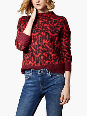 Leopard Print Brushed Wool Jumper, Red/Multi