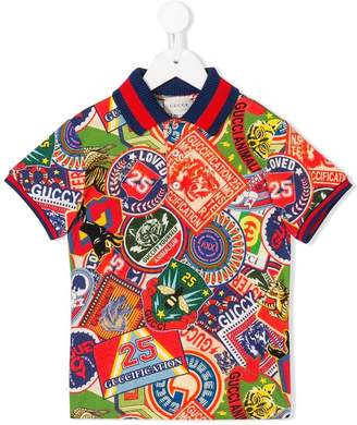 Gucci Kids patch-print polo shirt