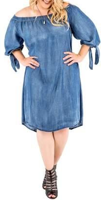 Standards & Practices Julie Off the Shoulder Denim Dress