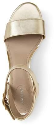 Lands' End Gold Regular Block Heel Leather Sandals