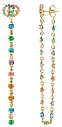 Women's Gucci Double-G Multistone Chain Stud Earrings $2,650 thestylecure.com
