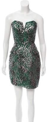 Alberto Makali Strapless Brocade Dress