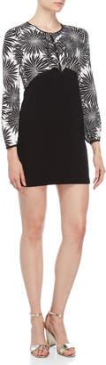 Atos Lombardini Triangle Frill Mixed Media Mini Dress