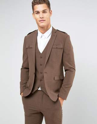 styling/ ASOS DESIGN ASOS Skinny Suit Jacket In Brown With Military Styling