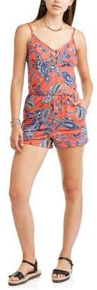 Eye Candy Juniors' Spaghetti Strap Romper with O-Ring Detail