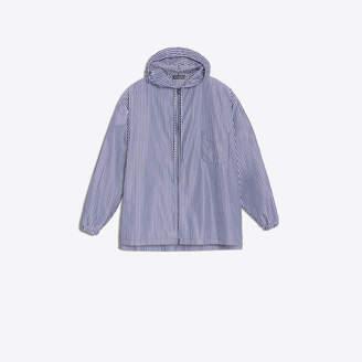 Balenciaga Striped zipped hooded shirt