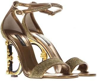 Dolce & Gabbana Baroque Gold Leather & Lurex Iconic Heel Sandals