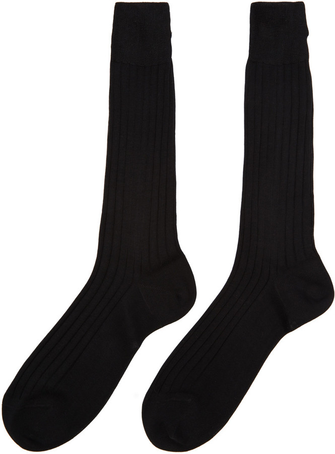 Thom Browne Black Ribbed Socks 2