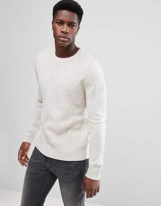 Stradivarius Ribbed Sweater in White