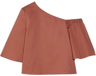 Tibi One-shoulder Cotton-poplin Top - Brick