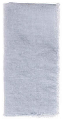 Canvas Set of 4 Fringed Linen Dinner Napkins - Sky Blue
