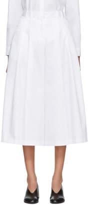 Jil Sander Navy White Satin Wide-Leg Trousers