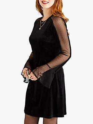 Yumi Sheer Flute Sleeve Velvet Dress, Black