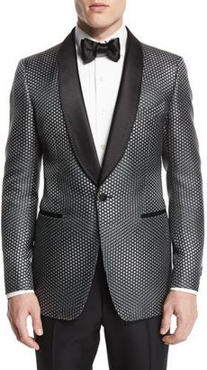 TOM FORD Buckley-Base Textured-Mesh Tuxedo Jacket, Gray/Black $5,470 thestylecure.com