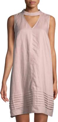 2568bfa64d Neiman Marcus Choker-Neck Linen Shift Dress