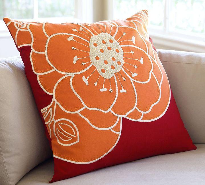 Rosa Orange-Flower Pillow Cover