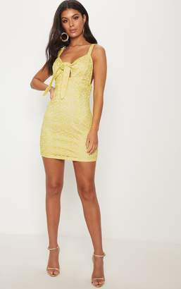 PrettyLittleThing Yellow Strappy Lace Tie Front Bodycon Dress