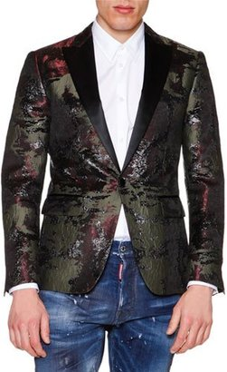 Dsquared2 Camo-Print Jacquard Evening Jacket, Black $2,495 thestylecure.com